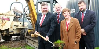 Health Minister, Dr. James Reilly, T.D., turns the sod on the new Acute Psychiatric Unit at Beaumont Hospital (l to r) Dr. James Reilly, Mr. Liam Duffy, CEO, Beaumont Hospital; Dr. Mary Cosgrave, Executive Clinical Director, HSE North Dublin Mental Health Service and Mr. Stephen Mulvany, Regional Director of Operations, HSE Dublin North East.