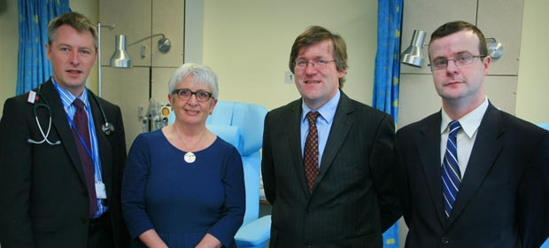 Beaumont Hospital consultant oncologists Dr. Oscar Breathnach, Dr. Liam Grogan and Dr. Brian Hennessy with Dr Susan O'Reilly, National Director, National Cancer Control Programme at the official opening of improved facilities for treatment of cancer patients at Beaumont Hospital.
