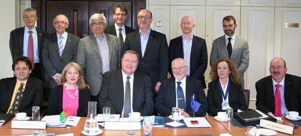 Front row, Philippe Blua, France, Georgia Oikonomopoulou, Greece. Derek Greene, HMI President, Heinz Kolking, Germany, President EAHM, Louise McMahon, IHM-Northern Ireland, and Gerry O'Dwyer, Ireland, Vice President, EAHM. Back row, Dr. Stays Gendvillis, Lithuania, Marc Hastert, Luxembourg, Dr. Juraj Gemes, Slovakia, Rolf Gilgen, Switzerland, Prof. Mieczyslaw Pasowicz, Poland, Dr. Bard Lilleeng, Norway and Manuel Lacerda Cabral, Portugal
