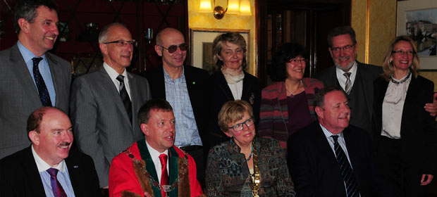 The Lord Mayor of Cork received the Subcommittee and Irish hosts in the beautiful Cork City Hall. Back row from left, Members, Adrian Ahern, hosting member, Pierre Wesner, Beda Meyer, Vesna Šendula, Jengić , Nicole Demeter, Klaus Kupfer, (Vice President) and Doris Gillig. Frontt row from left, Gerry O'Dwyer, EAHM President, Cllr. Tony Fitzgerald, Presiding Lord Mayor, Inger Kari Nerheim, President, and Derek Greene, HMI President.