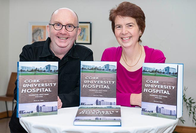 Bill Hollingsworth Book designer and Book Author Alicia St Leger pictured at Cork University Hospital launches a book celebrating forty years of service to the community 1978-2018.
